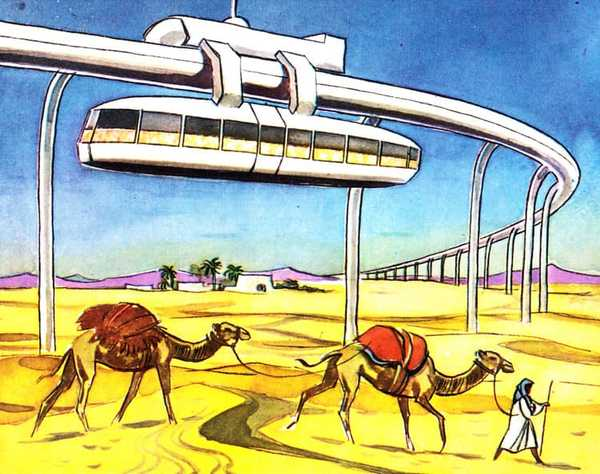 Suspension railway over the Sahara: suspended 15 meters high, The world of tomorrow, Birkel scrapbook, 1959, Unknown Artist.